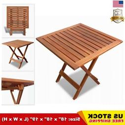 Outdoor Folding Square Coffee Side Table Acacia Wood Patio D