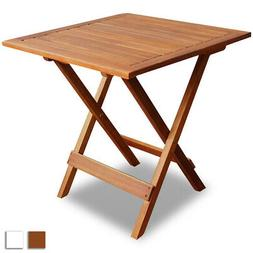 Outdoor Folding Square Coffee/Side Table Acacia Wood Patio G