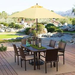 Outdoor Patio 9-Ft Wooden Market Umbrella with Yellow Shade