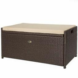Outdoor Patio All Weather Rattan Pool Deck Box Storage w/ Se