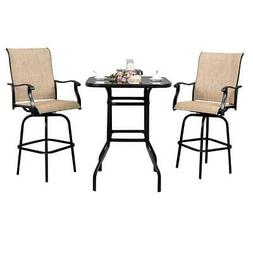Outdoor Patio Bistro High Chairs,Sling Swivel Bar Stools Set