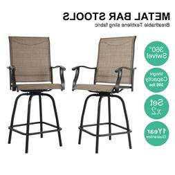 PHI VILLA Outdoor Patio Bistro High Chairs,Sling Swivel Bar