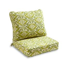 Outdoor Patio Chair Green Covered Seat-n-Back Cushions Set D