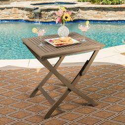 Outdoor Patio Foldable Grey Acacia Wood Bistro Table Christo