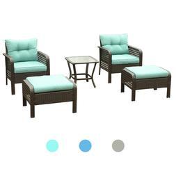Outdoor Patio Furniture 5 Pcs Rattan Sofa Wicker Chair W/ Cu