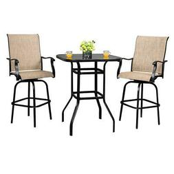 Outdoor Patio Furniture High Bistro Stools Chairs Table Set
