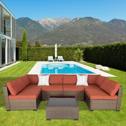 Outdoor Patio Furniture Wicker Sofa Set Cushioned Couch Mapl