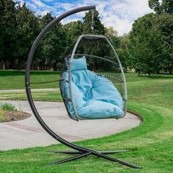 Outdoor Large Patio Hanging Egg Lounge Chair Swing Cushion H