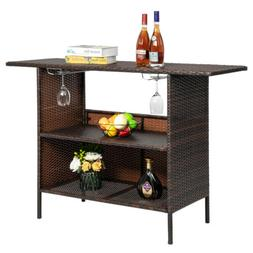 Outdoor Patio Rattan Wicker Bar Counter Table with Shelves B