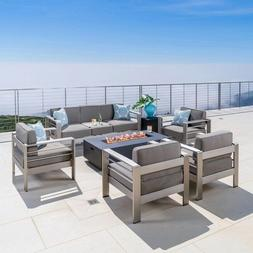 Outdoor Patio Set Fire Table Seating Aluminum Furniture Deck