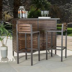 Outdoor Patio Slatted Acacia Wood Iron Framed 3 Piece Bar Se