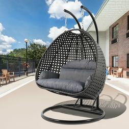LeisureMod Outdoor Patio Wicker 2 Person Hanging Egg Swing C