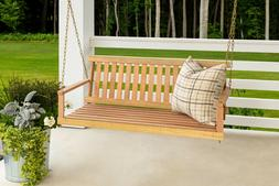 OUTDOOR PORCH PATIO SWING Cypress Wood Natural Finish Frame