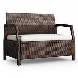 Outdoor Rattan Loveseat Bench Couch Chair Patio Furniture Br