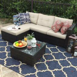 PHI VILLA Outdoor Rattan Sectional Sofa- Patio Wicker Furnit