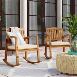 Outdoor Rocking Chair Set of 2 Patio Porch Pool All Weather