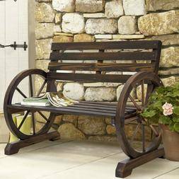 OUTDOOR COUNTRY RUSTIC WOODEN WAGON WHEEL BENCH PATIO/GARDEN