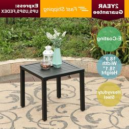 PHI VILLA Outdoor Small Metal Square Side/End Table,Patio Co