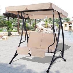 Outdoor Swing with Canopy 2-Person Patio Porch Steel Swing D