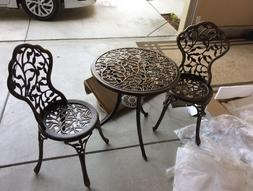 Outdoor Table and 2 Chairs Bistro Set Durable Garden Patio D