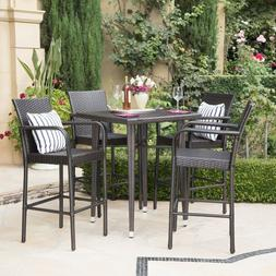 Outdoor Wicker Bar Set Brown Iron Square Contemporary Patio