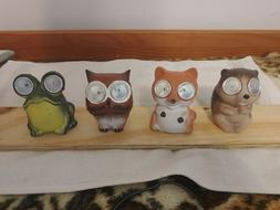 Owl, Frog, Fox, and Chipmunk outdoor Solar Figurine LED Land