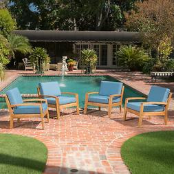 Parma Outdoor Wood Patio Furniture Club Chairs w/ Water Resi