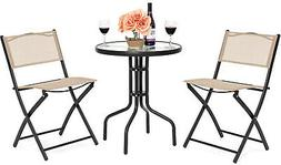 Patio Dining Furniture Set w/Round Textured Glass Table Top,