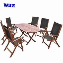 Patio Dining Set Folding Table Chair Wood Outdoor Garden Cle