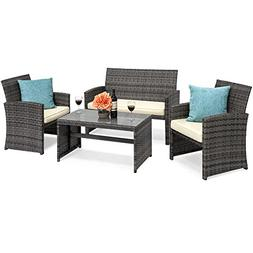Outdoor Patio Furniture Cushioned 4 Piece Wicker Sofa Covers