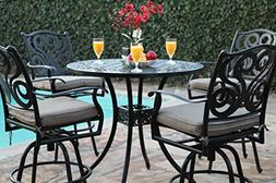 Outdoor Patio Furniture Perris Collection 5 Piece Aluminum 4