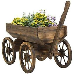 Patio Garden Wooden Wagon Backyard Grow Flowers Planter w/ W