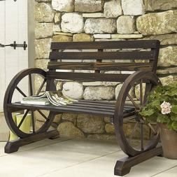Patio Garden Wooden Wagon Wheel Bench Rustic Wood Design Out