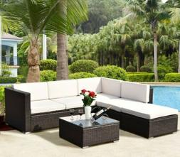 Patio L shape sectional Rattan Cushioned Outdoor Furniture S