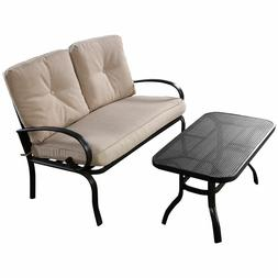 2PC Patio Outdoor LoveSeat Coffee Table Set Furniture Bench