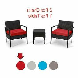 Patio Outdoor Chairs 3 Set Rattan Sofas Garden Furniture Set