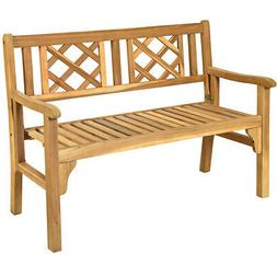 Patio Outdoor Solid Wood Bench Folding Loveseat Chair Park G