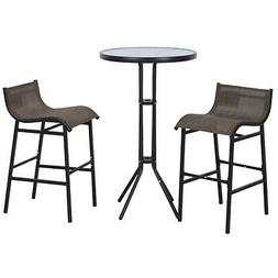 Outsunny 3 pc Outdoor Patio Pub Bistro Table & Chairs Set