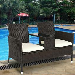 Patio Rattan Chat Set Seat Sofa Loveseat Table Chairs Conver