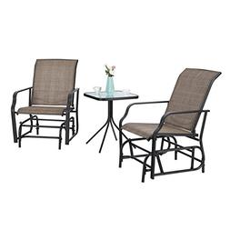 PHI VILLA Patio Swing Glider Set 3 PC Bistro Set with 2 Rock