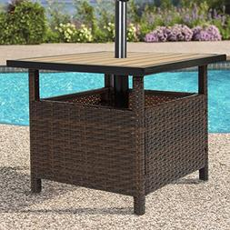 Patio Umbrella Stand Wicker Rattan Outdoor Furniture Garden