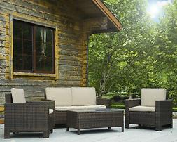 Patio Sofa Set 4 Pcs Outdoor Furniture Set PE Rattan Wicker