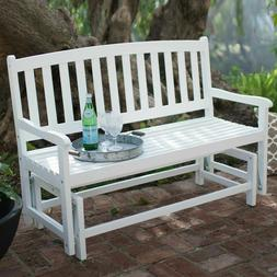 Outdoor Porch Rocker Glider White Curved Back Wood Loveseat