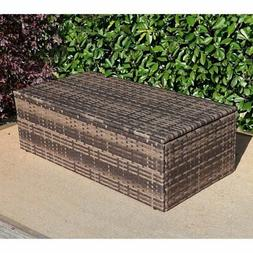 Baner Garden Rattan Patio Coffee Table with Storage Compartm