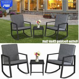 Rattan Rocking Chair Set with Coffee Table Garden Deck Armch