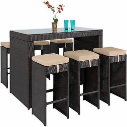 Best Choice Products 7pc Rattan Wicker Barstool Dining Table