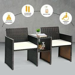 Rattan Wicker Furniture Set Cushioned Front Porch Seating 2