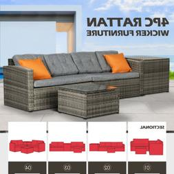 Rattan Wicker Sofa Set Sectional Couch Cushioned Furniture P