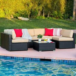 Rattan Wicker Sectional 7pcs Outdoor Patio Sofa 6 Chairs Tab