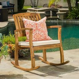 Rocking Chair with Cushion Patio Outdoor Acacia Wood